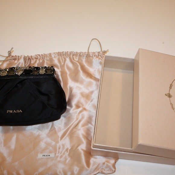 57e8a7c1025c Prada Bags | Nwot Jeweled Satin Clutch Bag | Poshmark